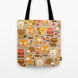Super Cute Woodland Creatures Pattern Tote Bag