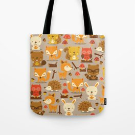 Super Cute Woodland Creatures Pattern Tote Bag