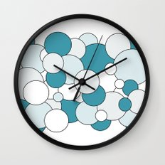 Bubbles - blue, gray and white. Wall Clock