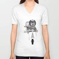 vespa V-neck T-shirts featuring VESPA by tonadisseny