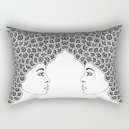 Profile of a girl with flowery hair Rectangular Pillow