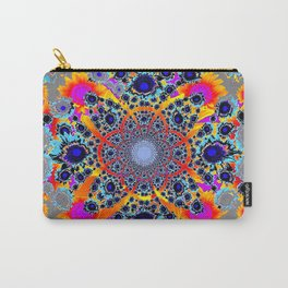 Grey Multi Colored Geometric Optical Art Carry-All Pouch