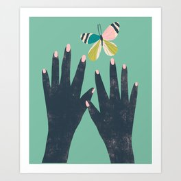 Hands and Butterfly Art Art Print