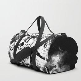 rattlesnake close up splatter watercolor black white Duffle Bag