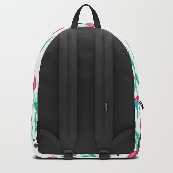 Abstract floral pattern tulips. Backpack