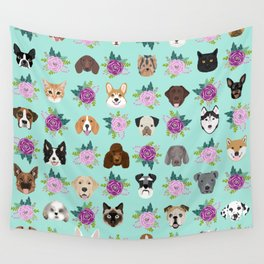 Dogs and cats pet friendly floral animal lover gifts dog breeds cat ladies Wall Tapestry