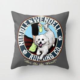 Nimble Wendell Running Co. (Vintage Logo) Throw Pillow