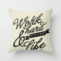 work hard Throw Pillows featuring Work Hard by Sebastián Andaur