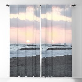 Beach Sunset Modern and Vintage Beach Aesthetic Photography of Newport Beach Colorful Pink Blue Sky Blackout Curtain