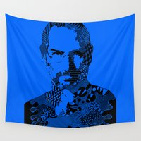 steve jobs Wall Tapestries featuring Steve Jobs blue by Rebecca Bear