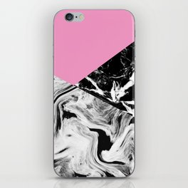 Pink Black and White Marble Colour Blocking iPhone Skin