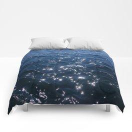 Sparkly Deep Blue Sea Waves Comforters