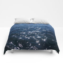 Sparkly Deep Blue Sea Waves Comforters