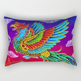 Colorful Fenghuang Chinese Phoenix Rainbow Bird Rectangular Pillow