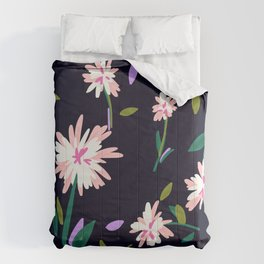 Flowers Abstract on Navy Comforters