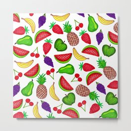 Tutti Fruity Hand Drawn Summer Mixed Fruit Metal Print