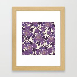 Elegant ivory gold lavender purple watercolor floral  Framed Art Print