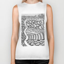 Zentangle Fields of Dream Black and White Adult Coloring Illustration Biker Tank