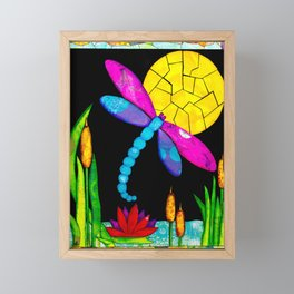 Find Your Way - paper pieced dragonfly Framed Mini Art Print
