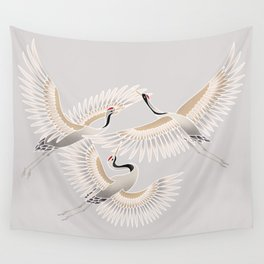 traditional Japanese cranes bright illustration Wall Tapestry