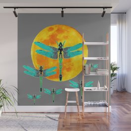 GREEN DRAGONFLIES FLYING TO MOON Wall Mural