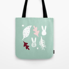 bunnies stain and leavs Tote Bag