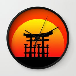 Sunset and Torii in Japan Wall Clock
