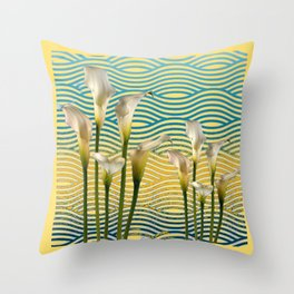 WHITE CALLA LILIES BLUE-YELLOW WATER ART Throw Pillow