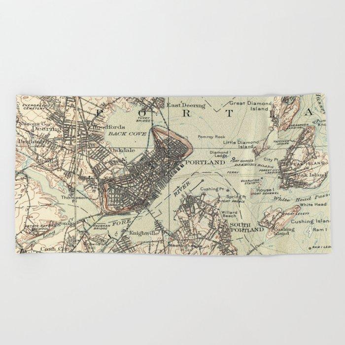 Vintage Map of Portland Maine (1914) Beach Towel by bravuramedia