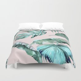 Tropical Palm Leaves Turquoise Green Coral Pink Duvet Cover