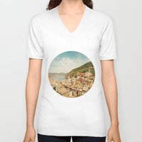 not all who wander are lost V-neck T-shirts featuring Not All Who Wander Are Lost by happeemonkee