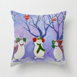 Dancing Snowmen Throw Pillow