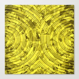 psychedelic geometric circle pattern abstract background in yellow Canvas Print