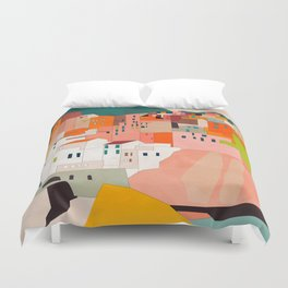 italy coast houses minimal abstract painting Duvet Cover