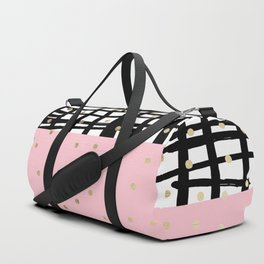 Modern geometrical black pink faux gold polka dots Duffle Bag