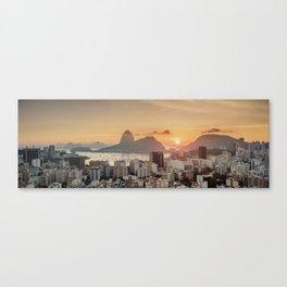View over Botafogo towards the Sugarloaf Mountain at sunrise, Rio de Janeiro, Brazil Canvas Print