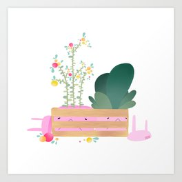 Bunns in a crate Art Print
