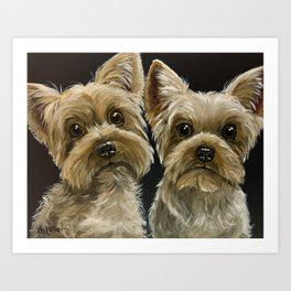 Yorkie Painting, Cute Yorkie's, Pet Art Art Print