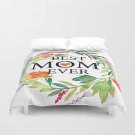 Best mom ever text-colorful wreath Duvet Cover