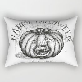 Hand drawn handwriting lettering happy halloween spooky smiling toothless pumpkin Rectangular Pillow