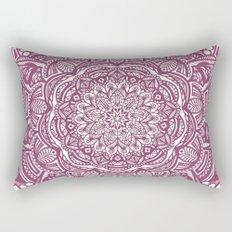 Wine Maroon Ethnic Detailed Textured Mandala Rectangular Pillow