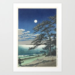 """Spring Moon at Ninomiya Beach"" by Hasui Kawase, 1931 Art Print"