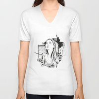 amy pond V-neck T-shirts featuring Come Along Pond by Fedi