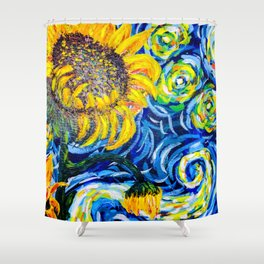 Gorgeous Blue and Yellow Van Gogh Sunflowers Shower Curtain