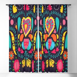 Colorful Floral Background Blackout Curtain