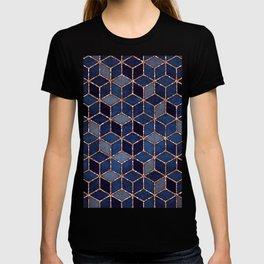 Shades Of Purple & Blue Cubes Pattern T-shirt