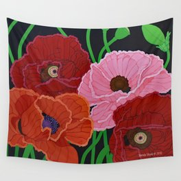 Four Poppies and Seed Pods, acrylic, 2010 Wall Tapestry