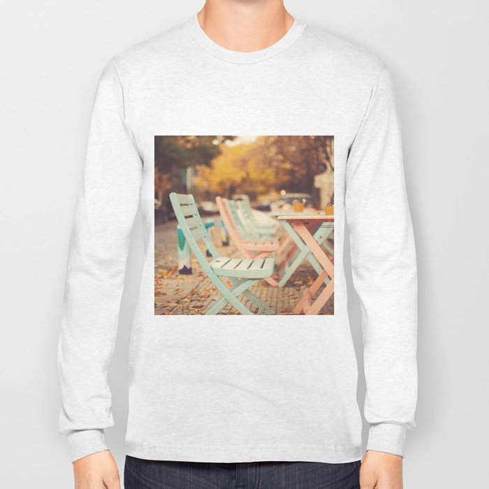 Dream Autumn (Pink and blue coffee shop chairs on retro and vintage fall) Long Sleeve T-shirt
