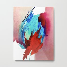 Ice and Fire: a vibrant, colorful, mixed media piece in pinks, blues, and red Metal Print