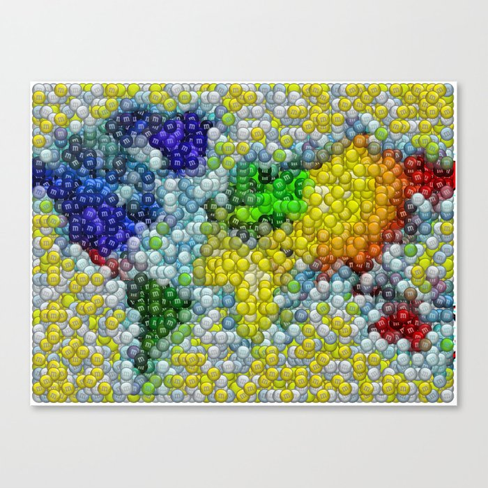 M Ms Candy Mosaic World Map Canvas Print By Paulvanscott Society6